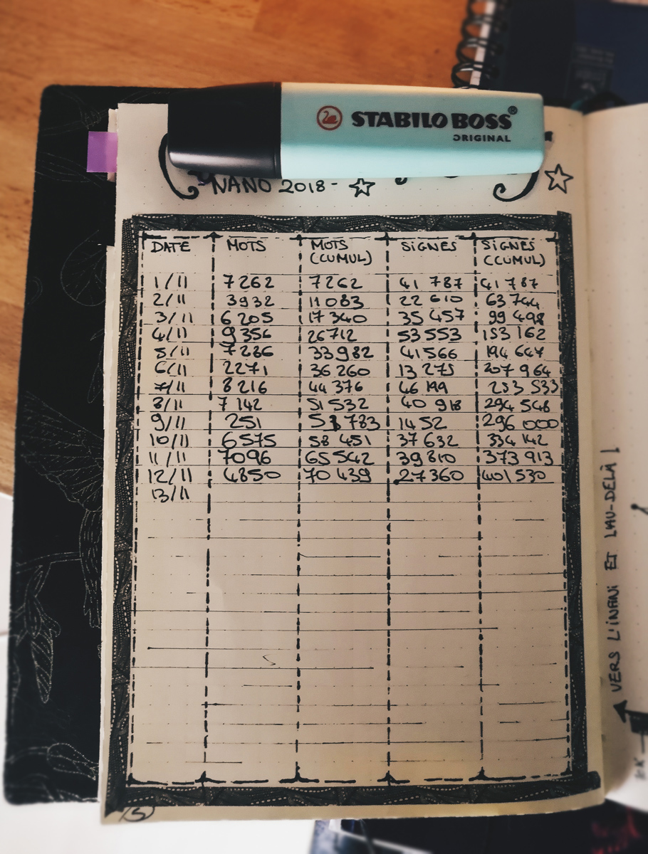 NaNoWriMo 2018: bilan à mi-parcours