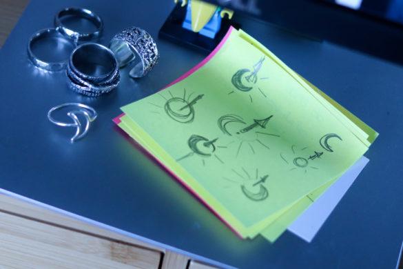 photo montrant un papier avec des esquisses au crayon