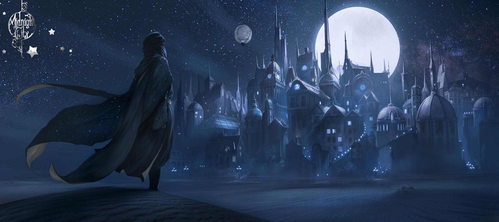 Ilustration montrant le marchand de sable devant la Cité de Minuit